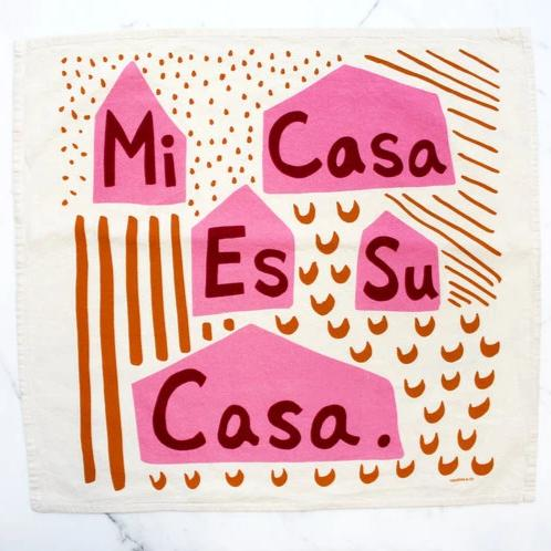 Calhoun & Co.: Mi Casa Es Su Casa Printed Tea Towel in Fiesta