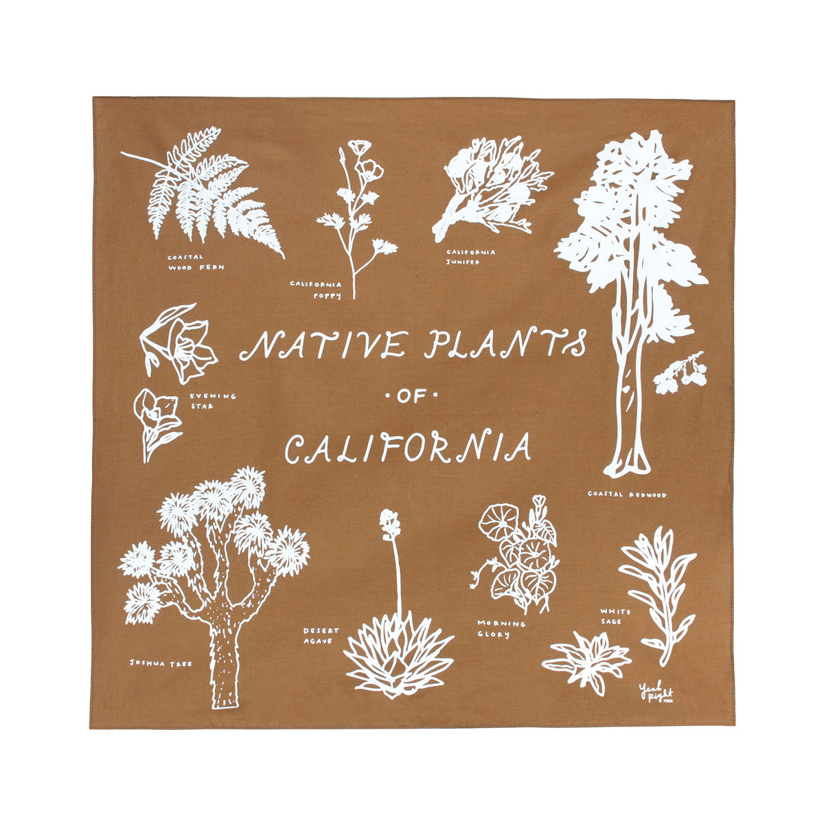 Yeah Right Press: Native Plants of California Bandana, Golden Brown