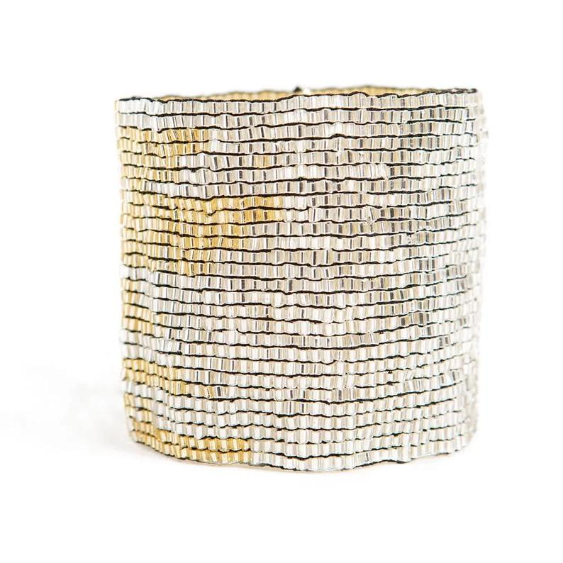 Ink + Alloy: Silver and Gold Stretch Bracelet