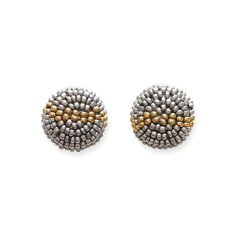 Ink + Alloy: Gunmetal and Gold Petite Seed Bead Button Post Earrings