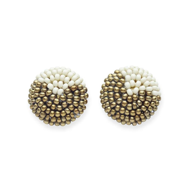 Ink + Alloy: Gold and Ivory Button Post Earrings