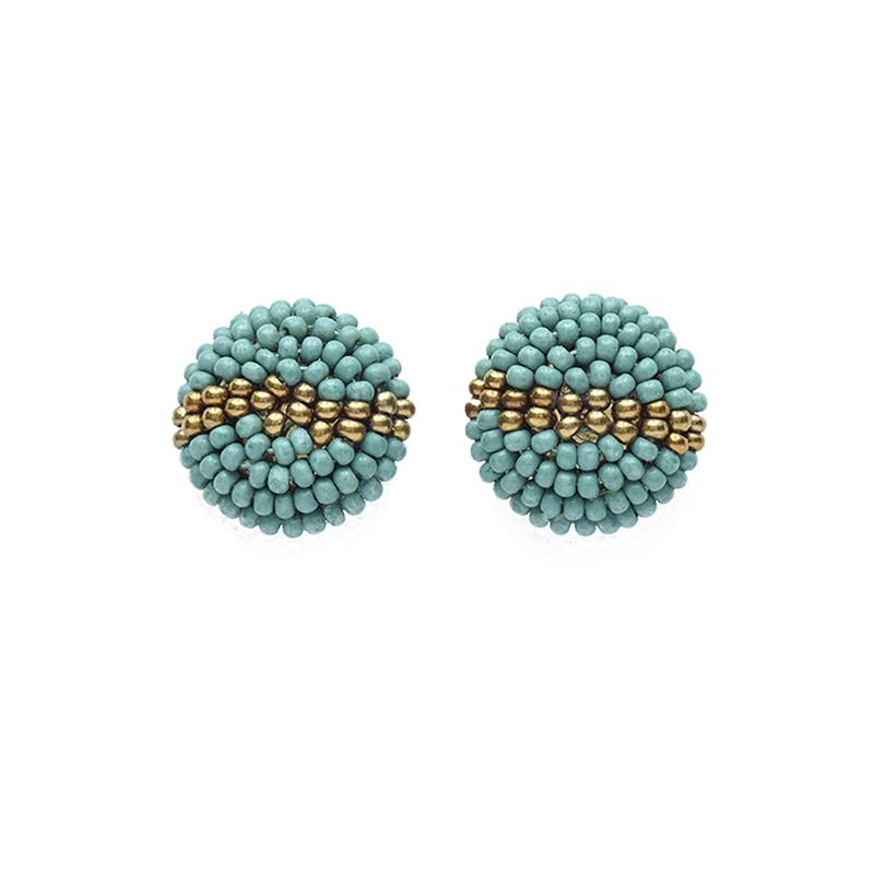 Ink + Alloy: Teal Gold Button Post Earring