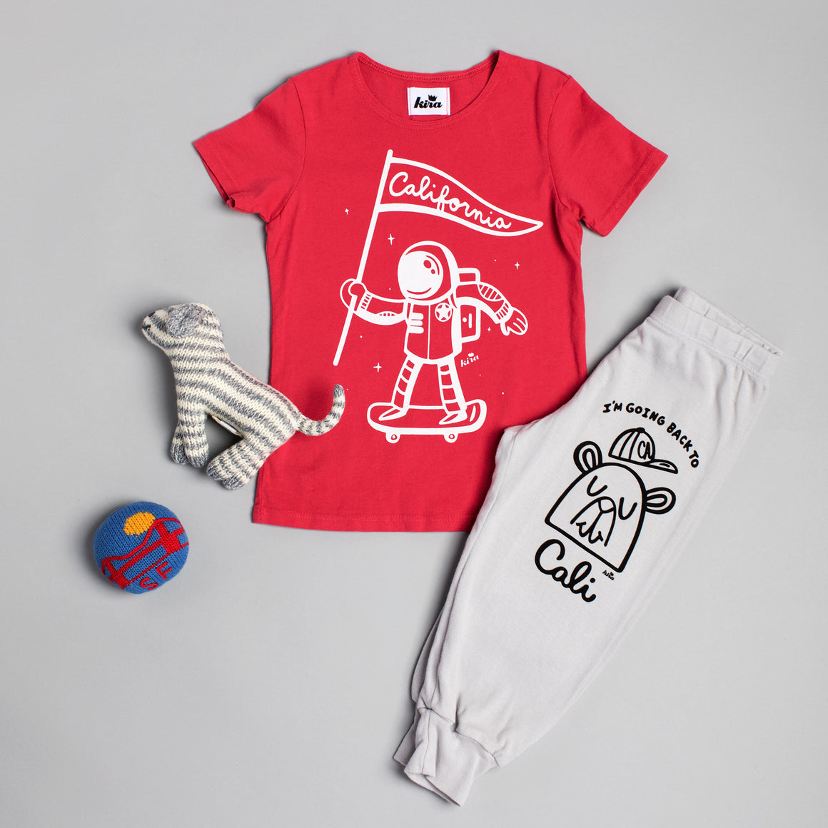 California Astronaut Graphic T-shirt, Red