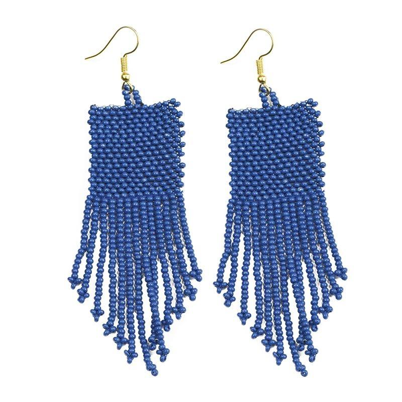 Ink + Alloy: Lapis Seed Bead Solid Earrings