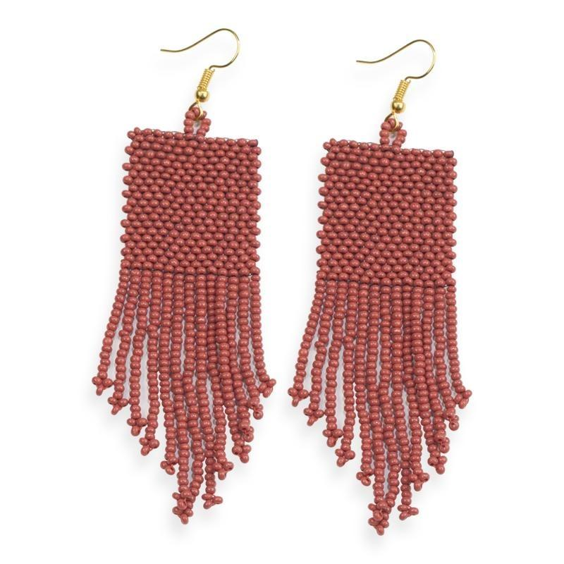 Ink + Alloy: Terra Cotta Seed Bead Solid Earrings