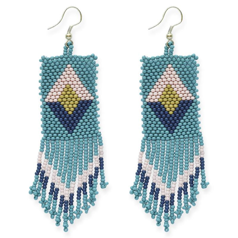 Ink + Alloy: Teal Pink Citron Navy Seed Bead Diamond Earrings