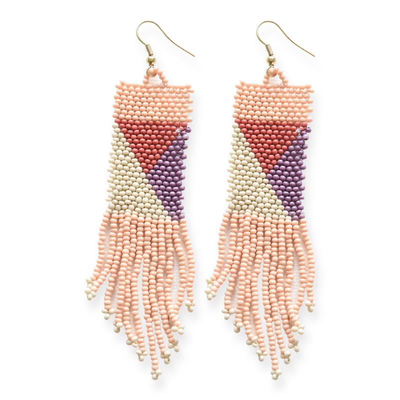 Ink + Alloy: Pink, Ivory, Lilac, Terracotta Geo Seed Bead Earrings