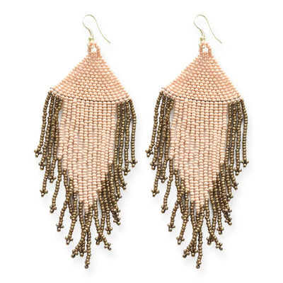 Ink + Alloy: Blush and Gold Fringe Seed Bead Earrings