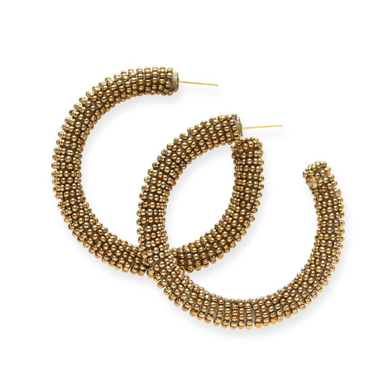 Ink + Alloy: Gold Solid Seed Bead Hoops