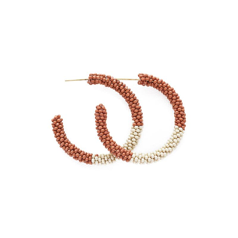 Ink + Alloy: Rust Ivory Color Block Small Hoop