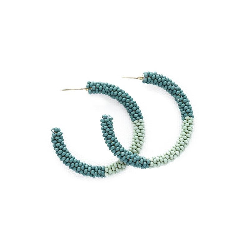 Ink + Alloy: Teal Mint Color Block Small Seed Bead Hoop