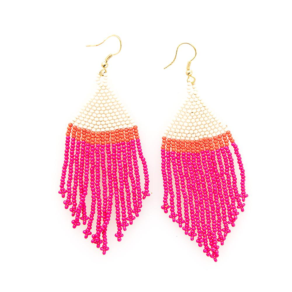 Ink + Alloy: Hot Pink Ivory Coral Stripe Fringe Earrings