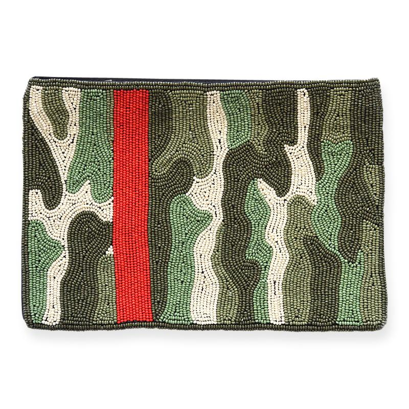 Ink + Alloy: Green Camo with Red Stripe Beaded Clutch