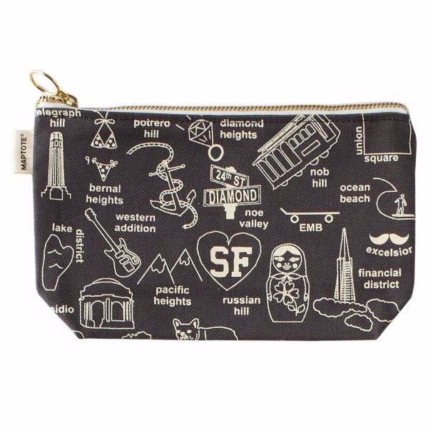 Maptote: San Francisco Zipped Pouches, Grey