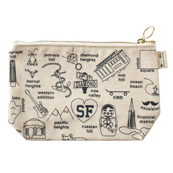 Maptote: San Francisco Zipped Pouches, Natural