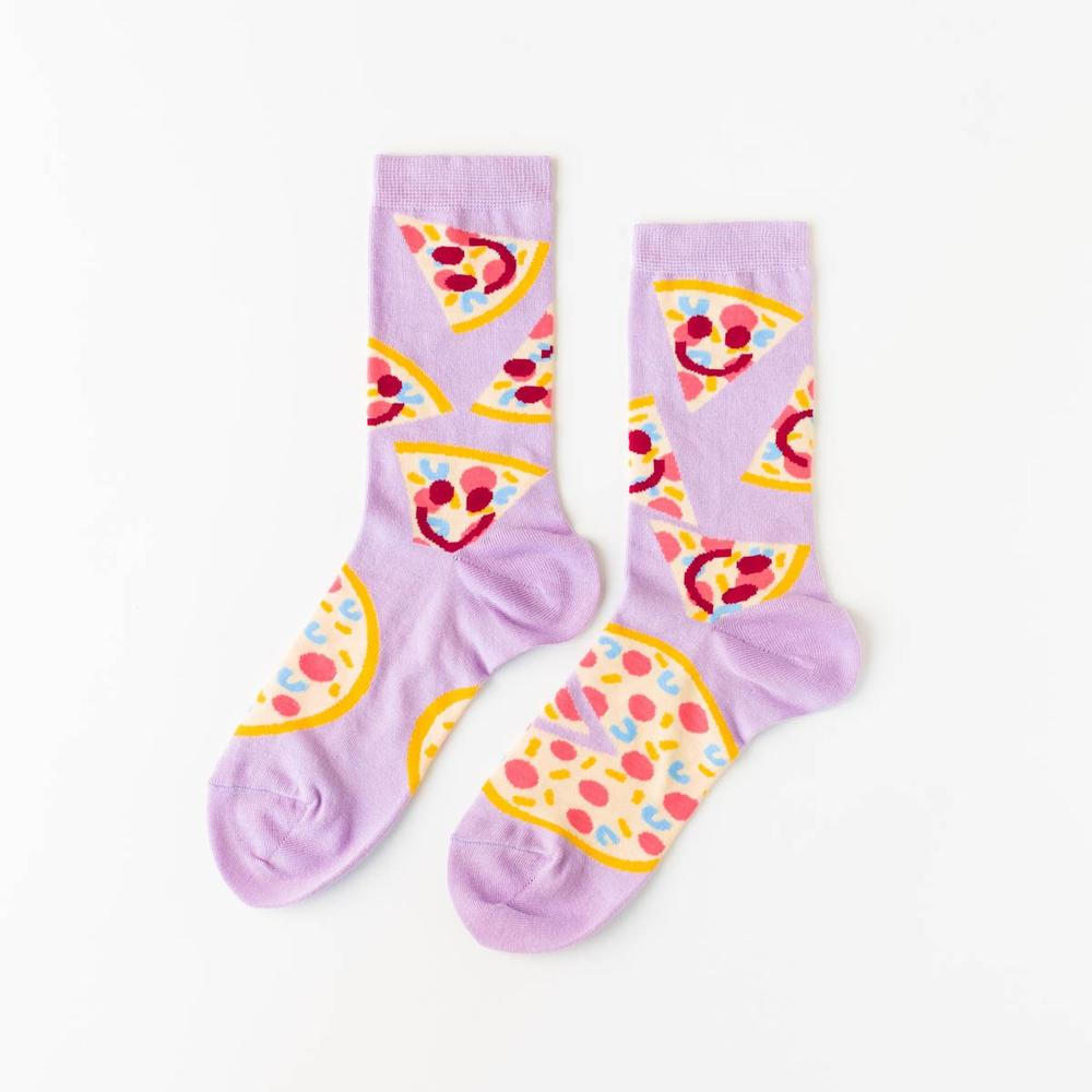 Yellow Owl Workshop: Pizza Happy Face Crew Socks