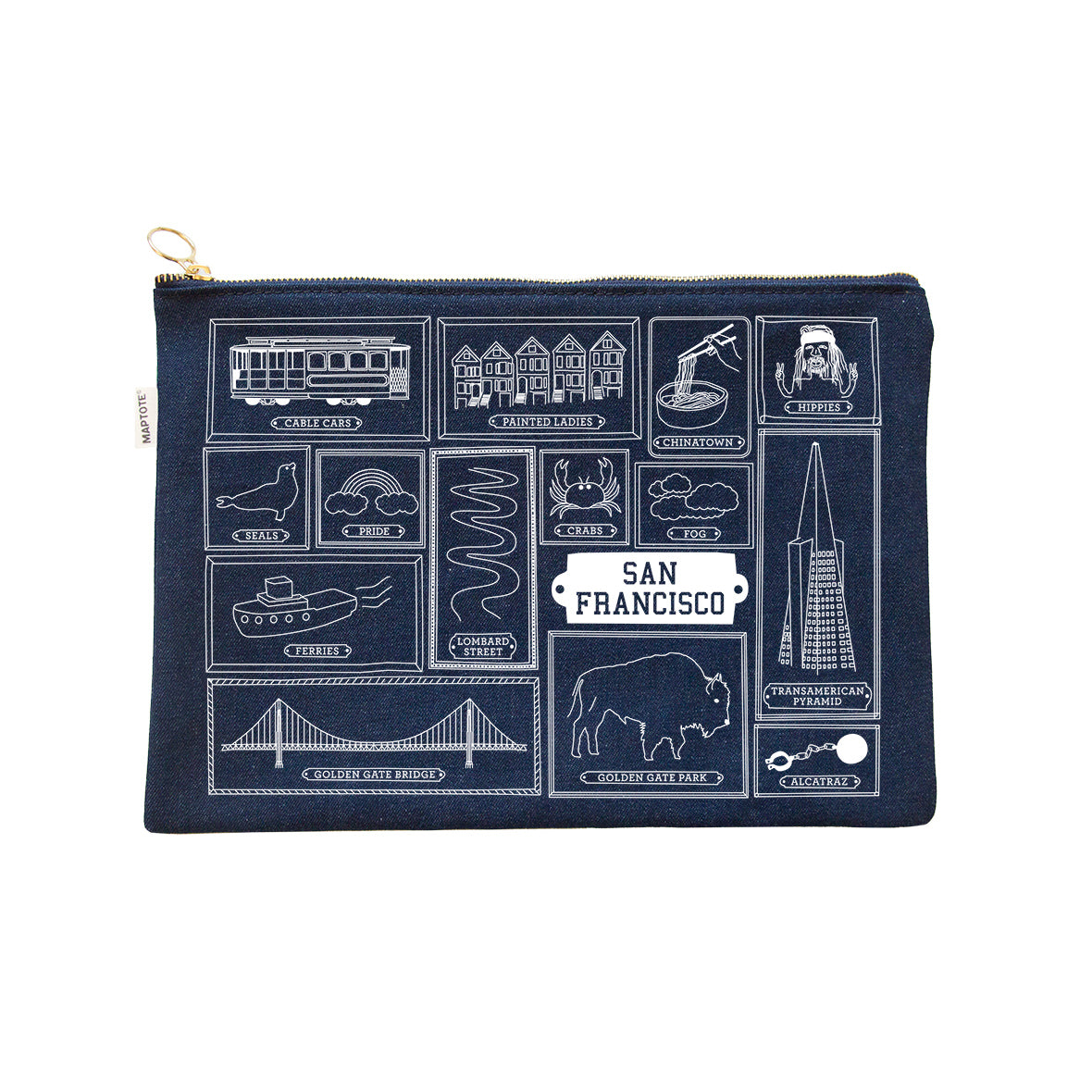 Maptote: San Francisco Flat Zip Pouch, Denim