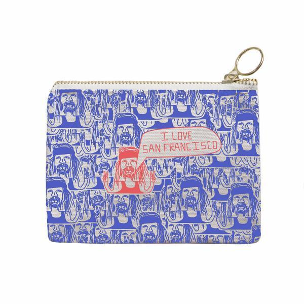 Maptote: San Francisco Coin Purse, Periwinkle/Coral