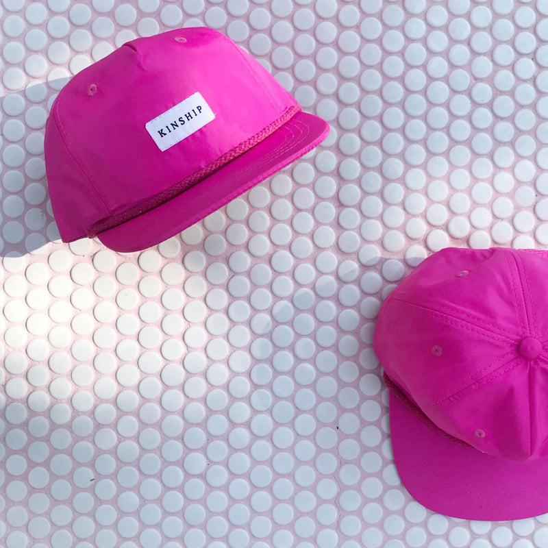 Kinship Cap Co: Pink Nylon Pinched 5 Panel Cap