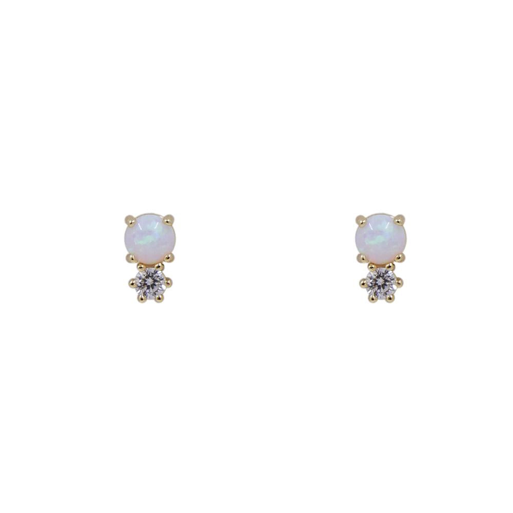 Thesis of Alexandria: Offset Opal + CZ Prong Stud Earrings
