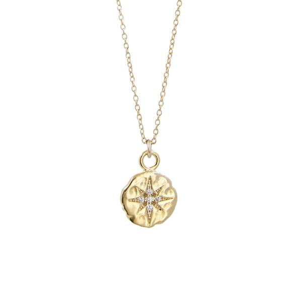 Thesis of Alexandria: CZ Pave North Star Hammered Disc Pendant Necklace