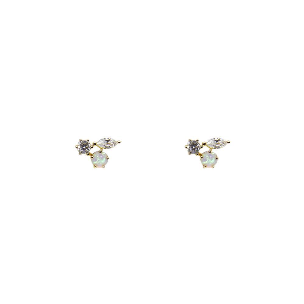 Thesis of Alexandria: Opal + CZ Trio Cluster Stud Earrings