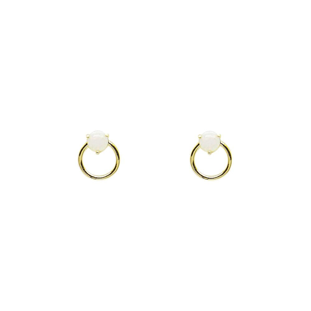 Thesis of Alexandria: Opal Circle Outline Stud Earrings