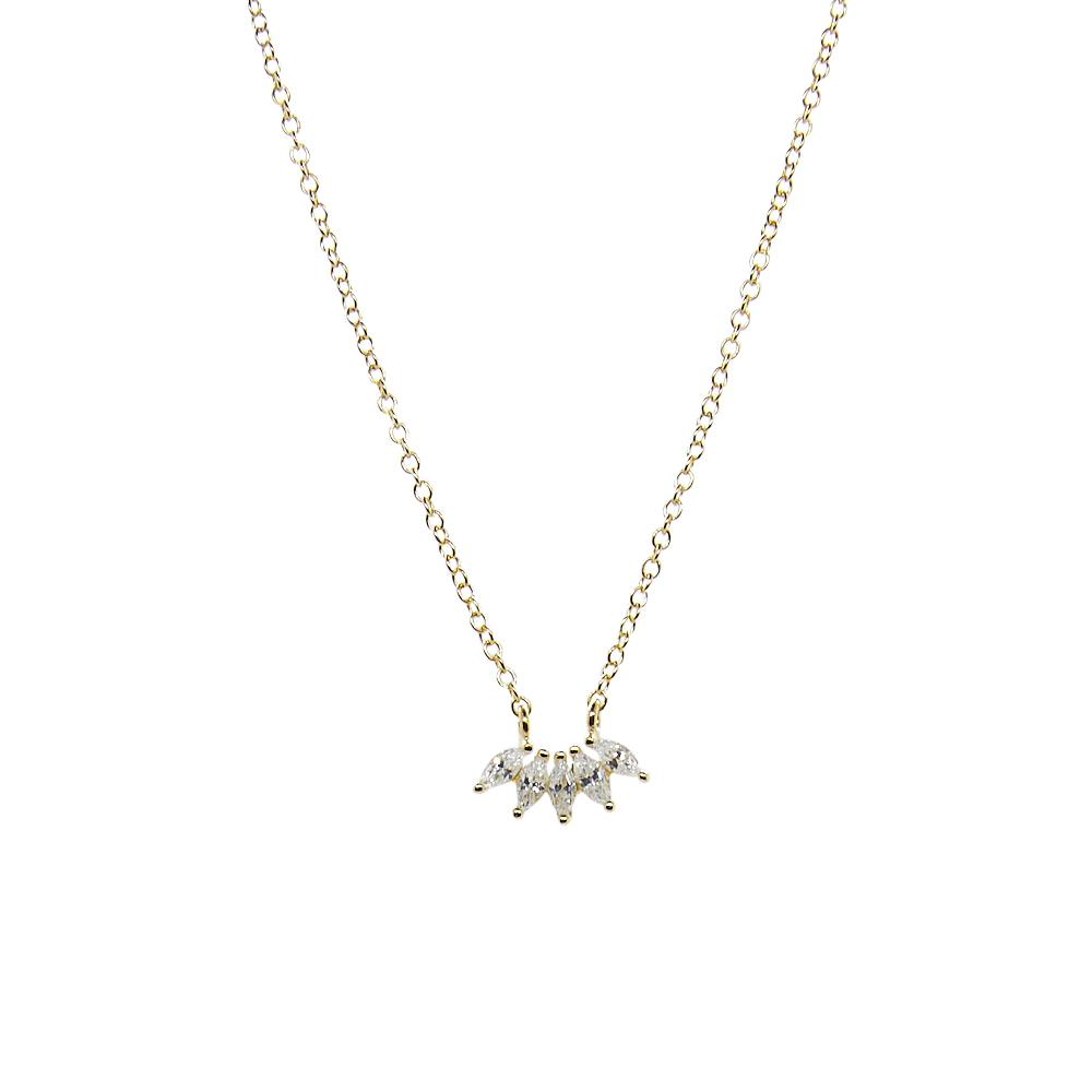 Thesis of Alexandria: Multi Marquise CZ Arc Necklace