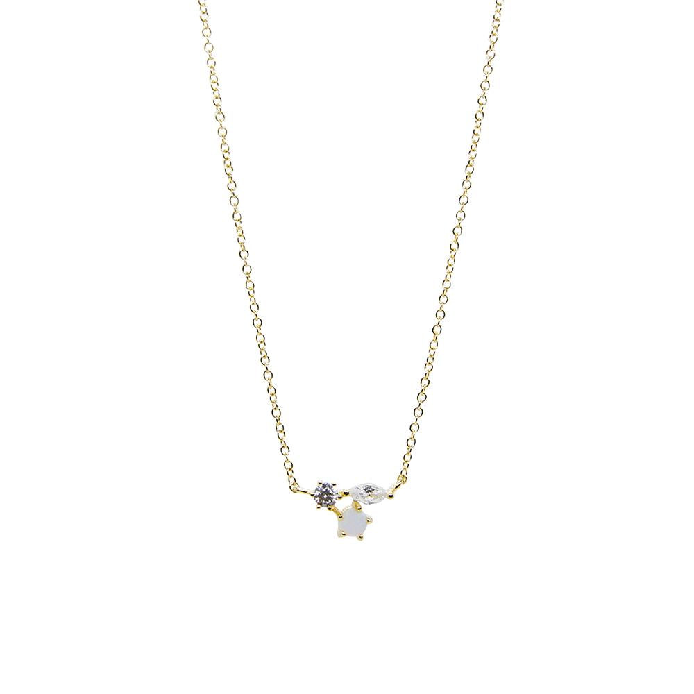 Thesis of Alexandria: Opal + CZ Trio Cluster Necklace