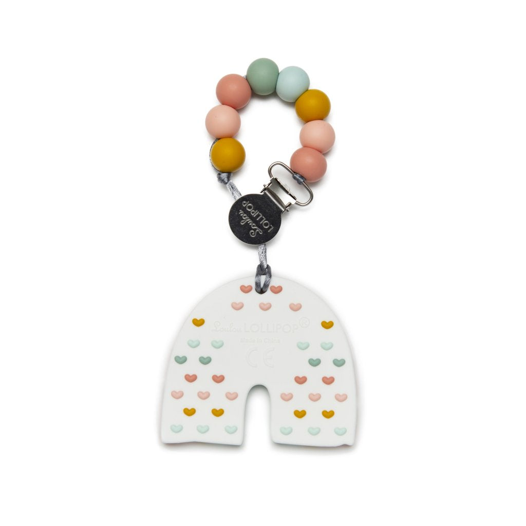 Loulou Lollipop: Pastel Rainbow Silicone Teether with Holder