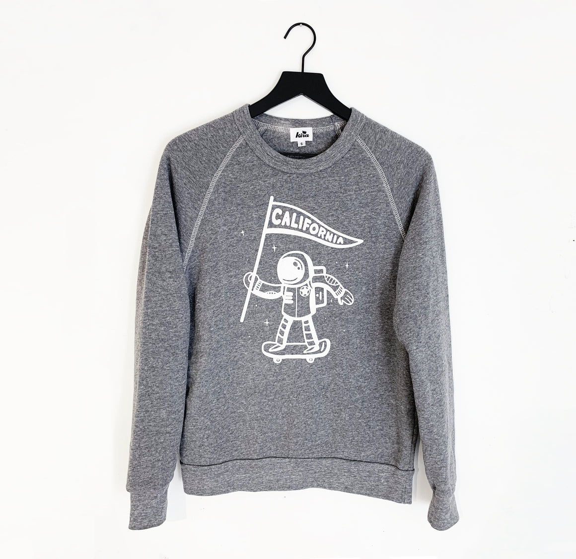Unisex Adult California Astronaut Raglan Sweatshirt, Heather Grey