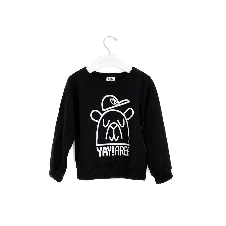 Yay Area Bear Raglan Sweatshirt, Black