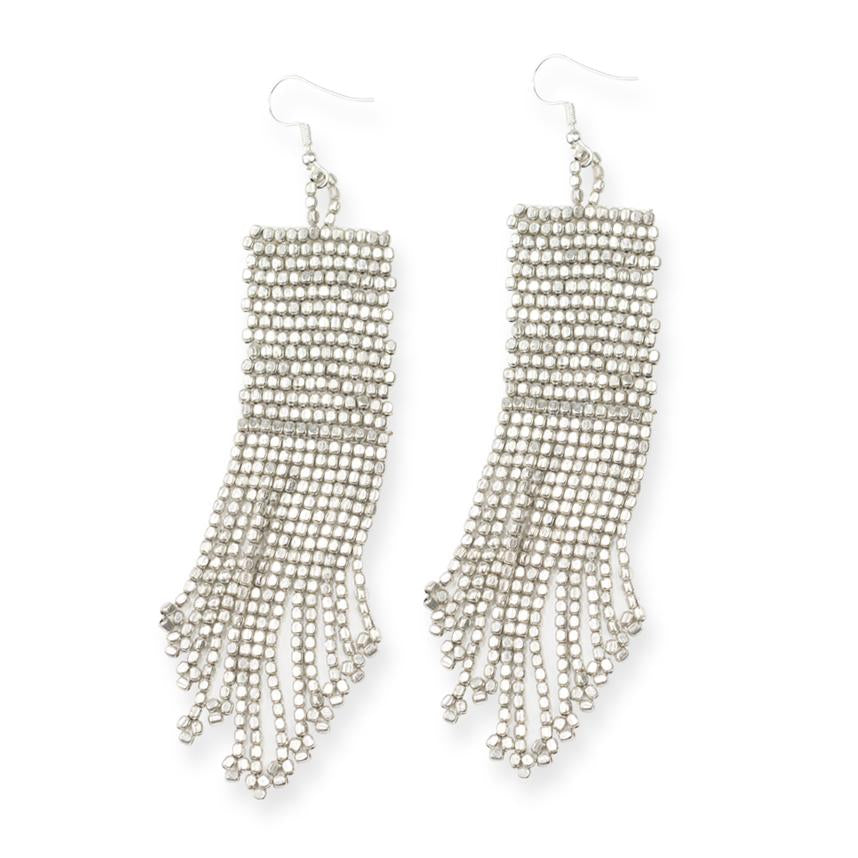 Ink + Alloy: Silver Seed Bead Solid Earrings