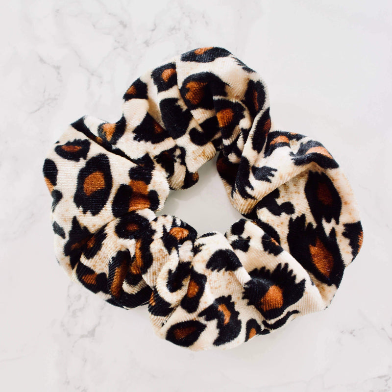 Katie Waltman Jewelry: Animal Print Velvet Scrunchie, Leopard