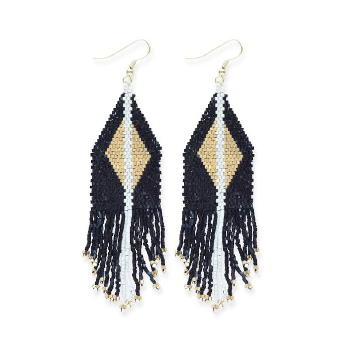 Ink + Alloy: Black With Gold Luxe Diamond With Fringe Earring