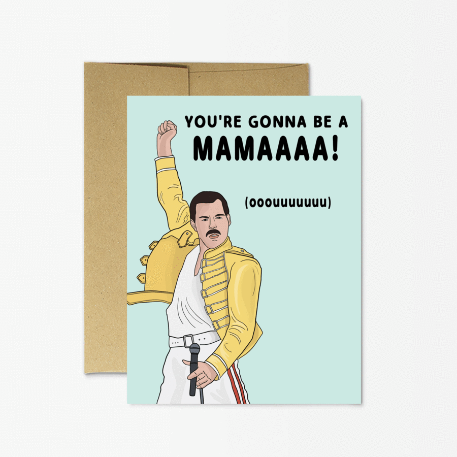 Party Mountain Paper Co.: Freddie Mercury New Mama Card