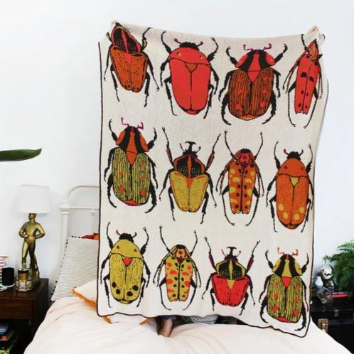 Calhoun & Co.: Beatle Party Knit Throw Blanket