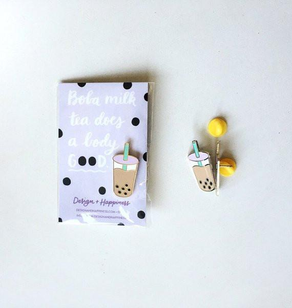 Design + Happiness: Boba Milk Tea Pin