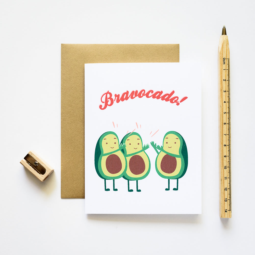 Ilootpaperie: Bravocado Avocado Congratulations Greeting Card