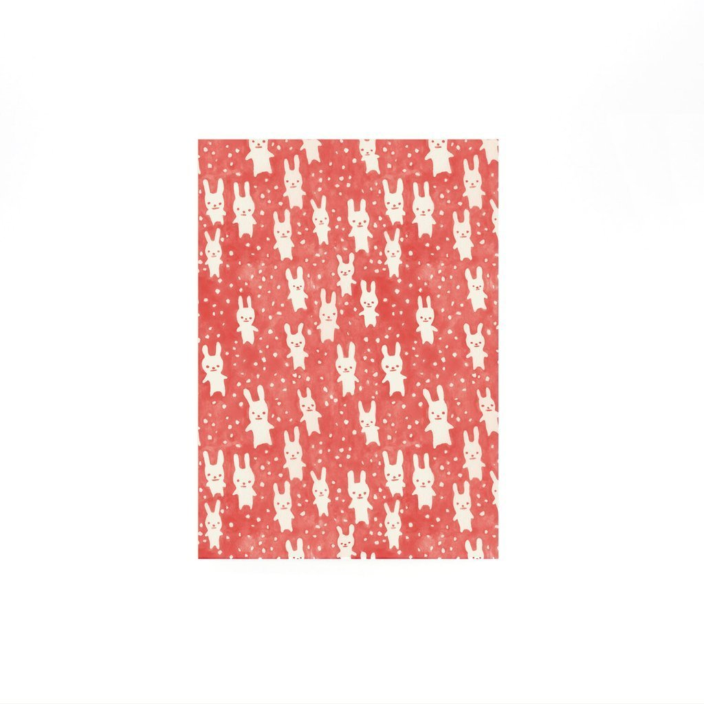 Curio Wolf: Bunnies Blank Note Cards, Red, Set of 8