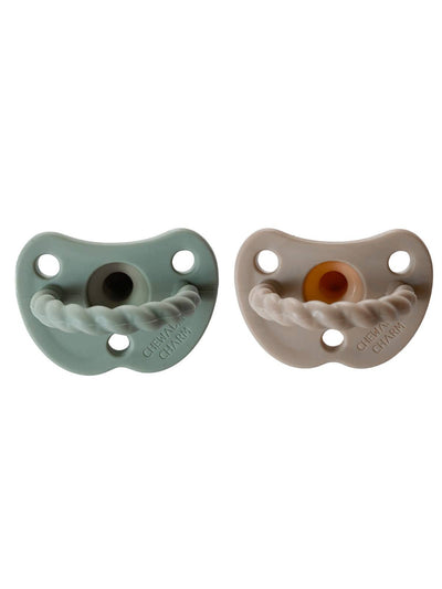 Chewable Charm: 2 Pack Pacifier + Twirl, Sage/Almond