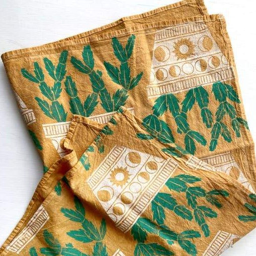 Andria Green: Cactus Tea Towel, Golden