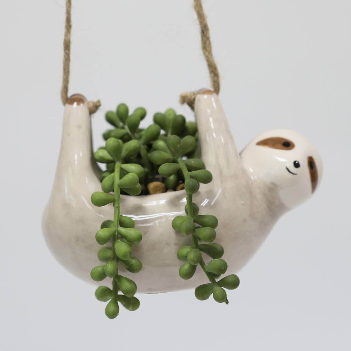 Flora Bunda: Hanging Sloth with Faux String of Pearls
