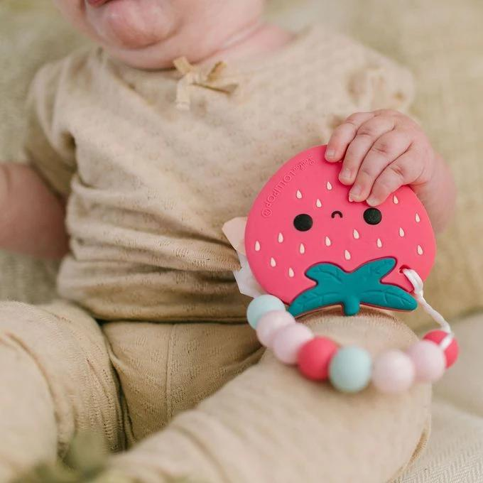 Loulou Lollipop: Strawberry Silicone Teether with Holder