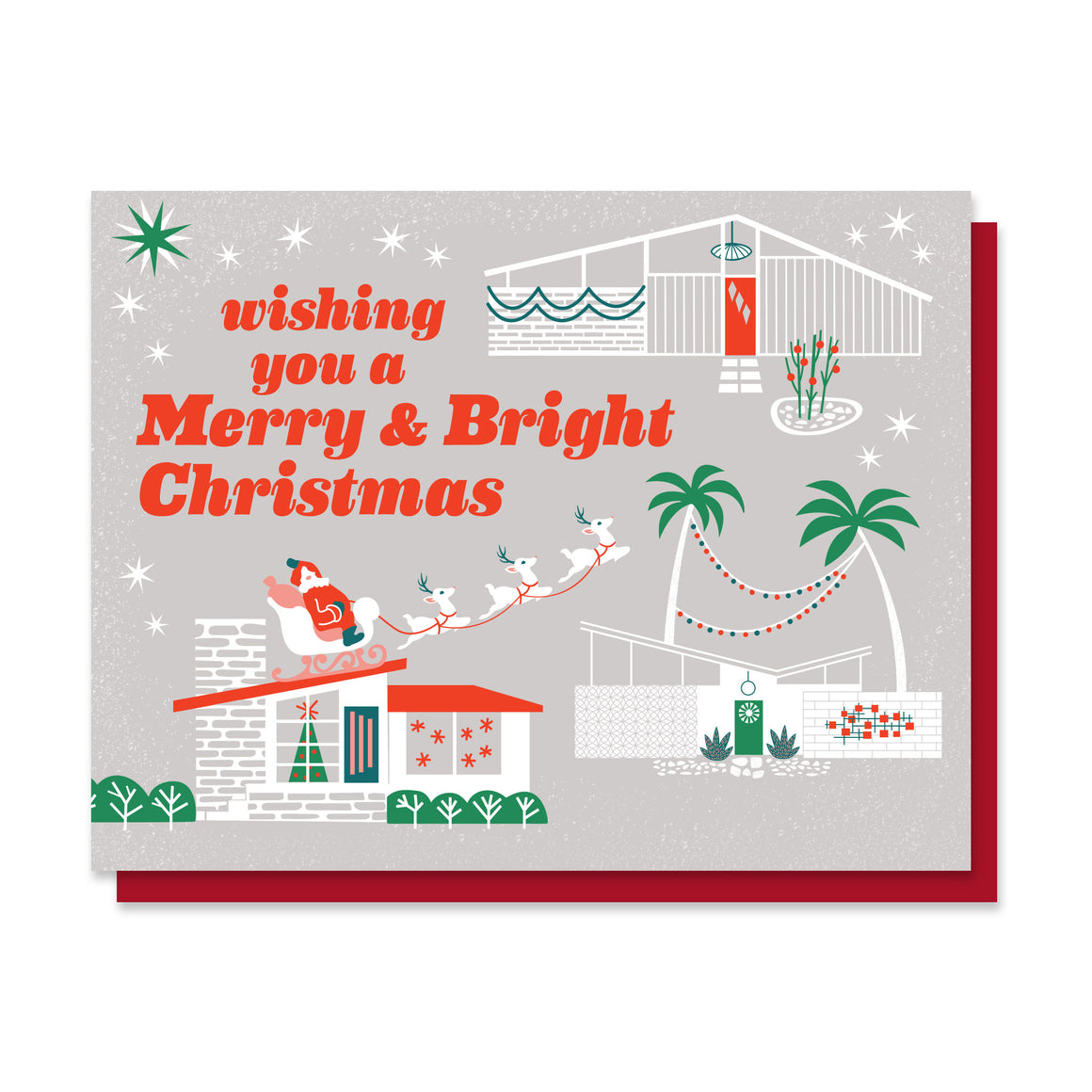 Paper Parasol Press - Merry & Bright Mid-Century Christmas Card
