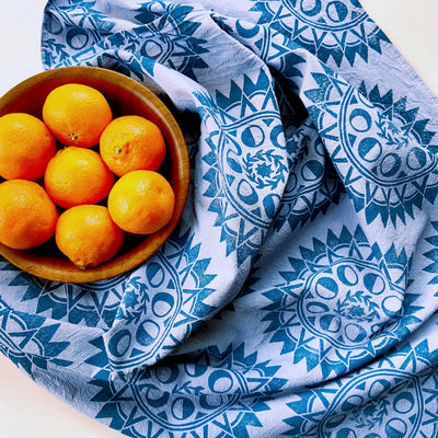 Andria Green: Solstice Sun Tea Towel, Blue Grey