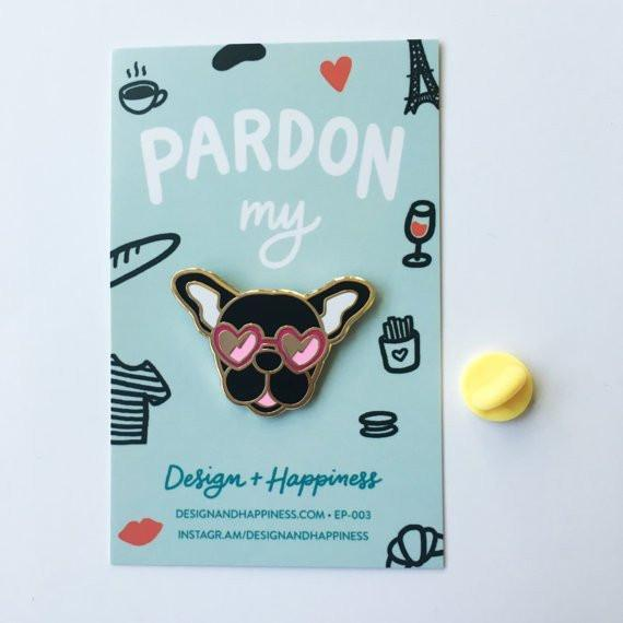 Design + Happiness: Frenchie Pin, Black