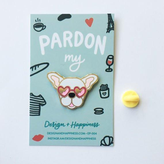 Design + Happiness: Frenchie Pin, White