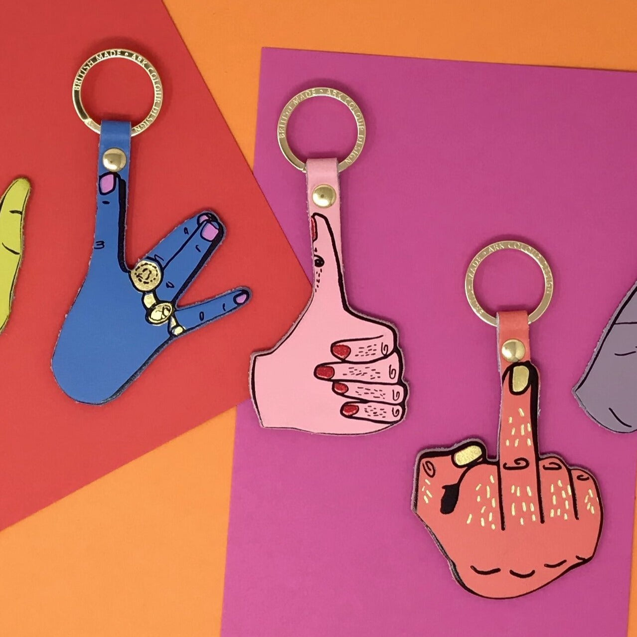 Ark Colour Design: Hand Signs Leather Keychain