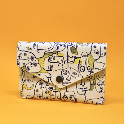 Ark Colour Design: Many Faces Leather Popper Wallet, Cream